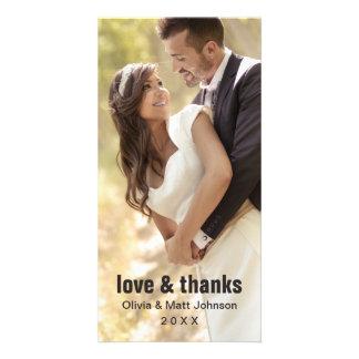 Amour de mariage et mercis - carte photo