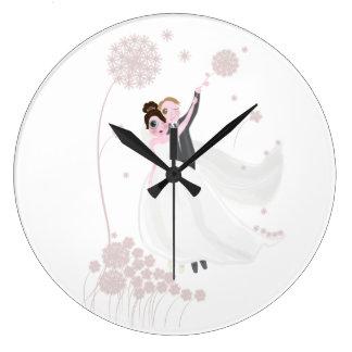 Amour de mariage grande horloge ronde