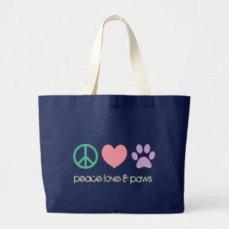 Amour de paix et éléphant Fourre-tout de pattes Grand Tote Bag