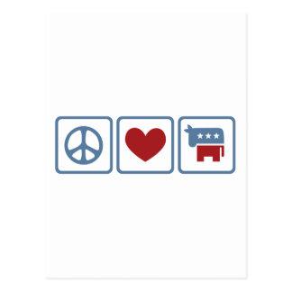 Amour Démocrate de paix Carte Postale