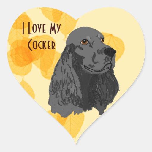 Amour du ~ I de cocker mon cocker noir Autocollants En Cœur
