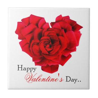 Amour en forme de coeur de rose rouge carreau