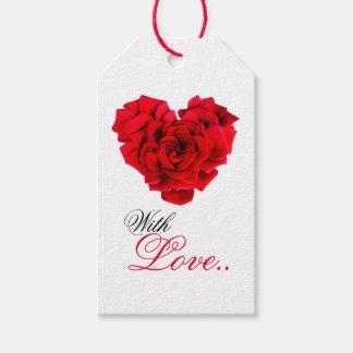 Amour en forme de coeur de rose rouge étiquettes-cadeau