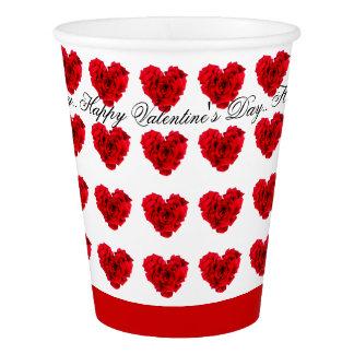Amour en forme de coeur de rose rouge gobelets en papier