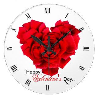 Amour en forme de coeur de rose rouge grande horloge ronde