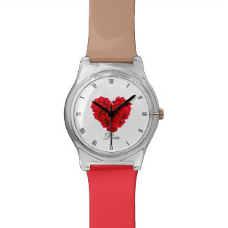 Amour en forme de coeur de rose rouge montre