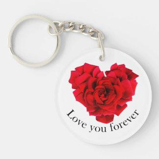 Amour en forme de coeur de rose rouge porte-clés
