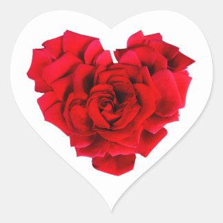 Amour en forme de coeur de rose rouge sticker cœur