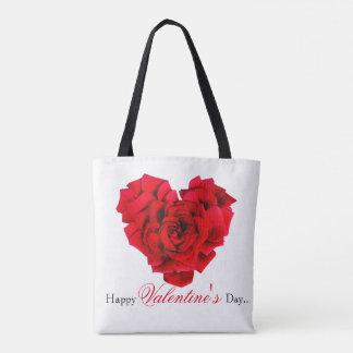 Amour en forme de coeur de rose rouge tote bag