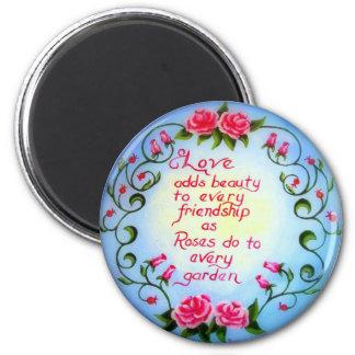 Amour et roses magnet rond 8 cm