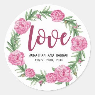 Amour floral personnalisé de mariage de pivoine sticker rond