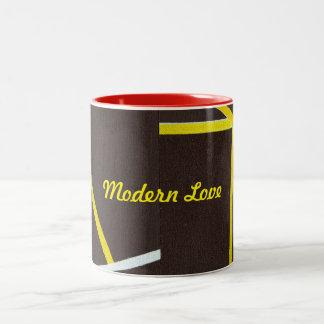 Amour moderne de tasse de café de deux tons