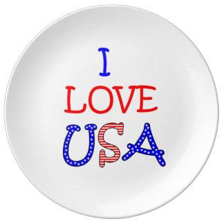 Amour patriotique Etats-Unis d'I Assiette En Porcelaine
