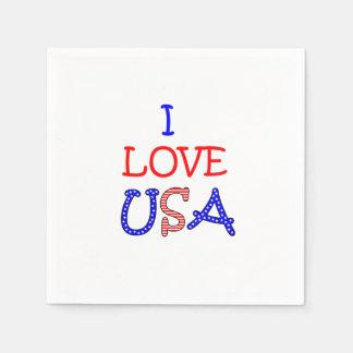 Amour patriotique Etats-Unis d'I Serviettes Jetables