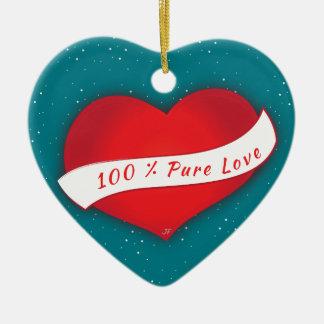 Amour pur de 100% ornement cœur en céramique