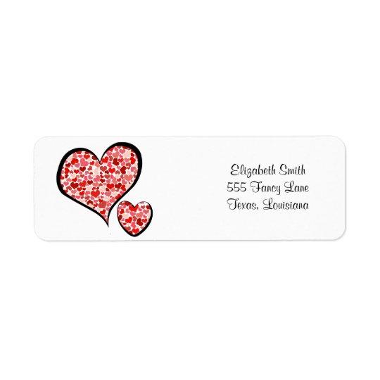 Amour, Romance, coeurs - blanc rouge Étiquette D'adresse Retour