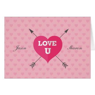 Amour signé et daté U carte de voeux