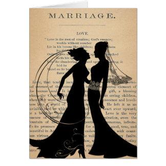 Amour vintage et mariage Longfellow l'épousant Carte