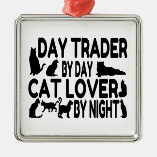 Amoureux des chats de commerçant de jour ornement carré argenté