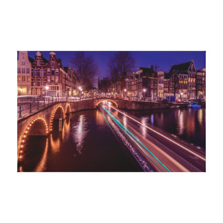 Amsterdam canals by night canvas