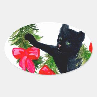 Amusement de vacances de décorations d'arbre de sticker ovale