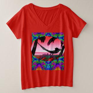 Amusement d'été ! Femmes +T-shirt plus de V-Cou