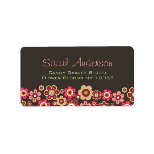 Amusement Girly de motif de sucrerie de fleurs Étiquettes D'adresse