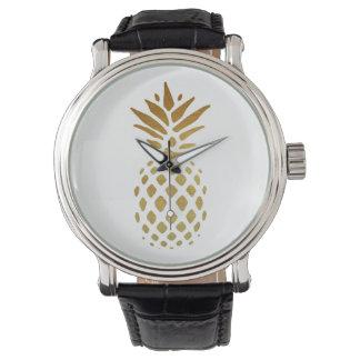 Ananas d'or, fruit en or montres bracelet