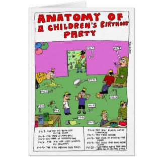 Anatomie de la fête d'anniversaire d'un enfant par carte de vœux
