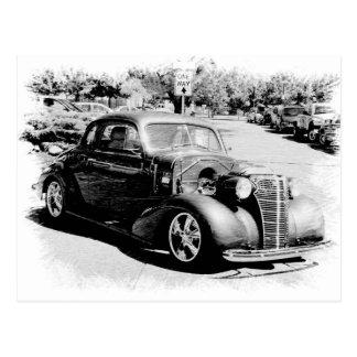 Ancien noir et blanc - automobile vintage carte postale