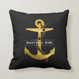 Ancre d'or avec la fille nautique de la corde | coussin décoratif