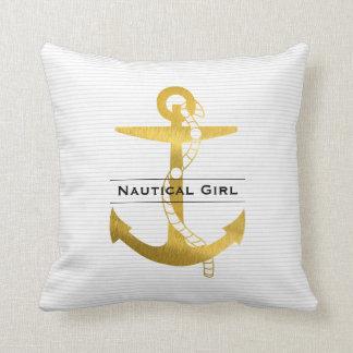 Ancre d'or avec la fille nautique de la corde | oreillers