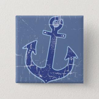 ancre nautique bleue de marin badge carré 5 cm