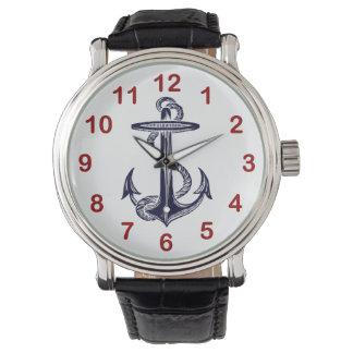 Ancre nautique de bleu marine montres cadran