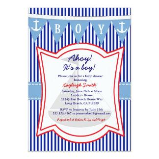 Ancre nautique de navigation d'invitation de baby carton d'invitation  12,7 cm x 17,78 cm