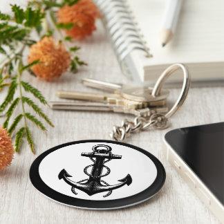 Ancre noire et blanche porte-clé rond