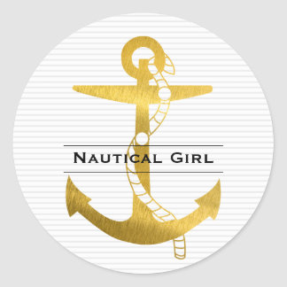 Ancrez avec la fille nautique de la corde | sticker rond