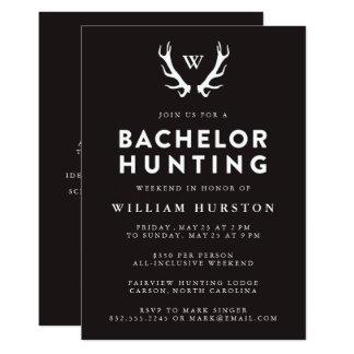 Andouillers de monogramme chassant l'invitation carton d'invitation  12,7 cm x 17,78 cm