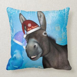 Âne drôle de Noël avec le casquette de Noël Coussin
