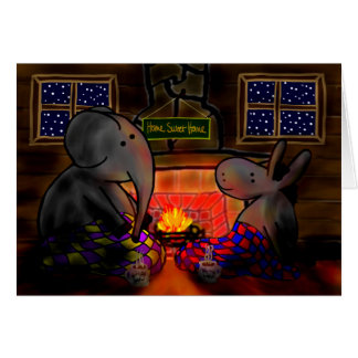 âne et éléphant par le feu carte de vœux