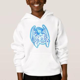 Ange bleu de sweat - shirt à capuche de paix