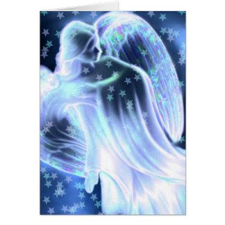 Ange bleu majestueux avec la carte de voeux
