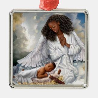 Ange d'Afro et ornements de Noël de Jésus de bébé