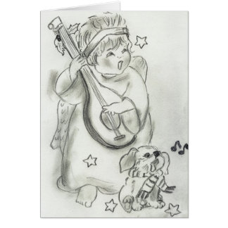Ange de chant et carte de Noël de chiot