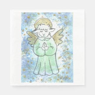 Ange de prière d'agneau serviette jetable