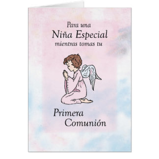 Ange de prière de communion de fille premier, carte de vœux