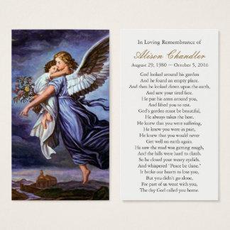 Ange du seigneur Funeral Sympathy Prayer Card Cartes De Visite