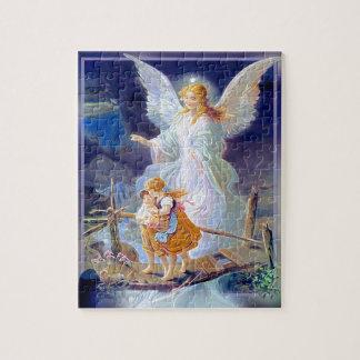 Ange gardien, enfants et pont puzzle