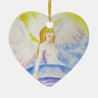 Ange guérissant l'ornement de coeur de planète ornement cœur en céramique