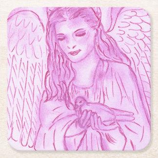 Ange paisible dans le rose dessous-de-verre carré en papier